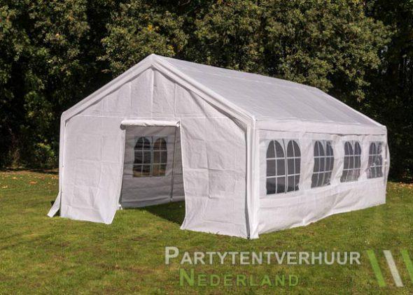 Partytent 4x8 meter voorkant schuin met deur huren - Partytentverhuur Nederland